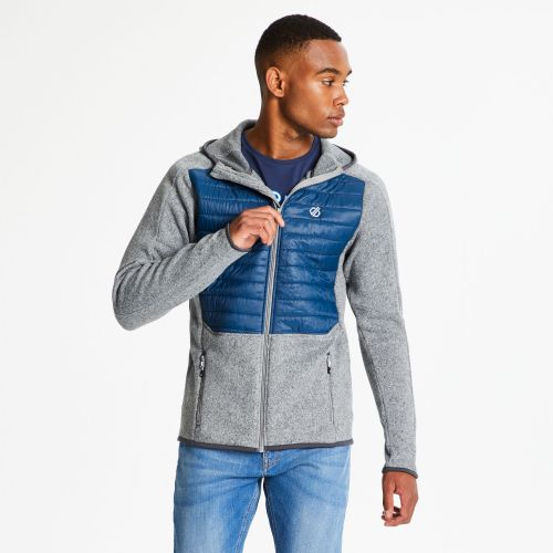 Men's Galore Hybrid Full Zip Hooded Midlayer - Ash Admiral Blue